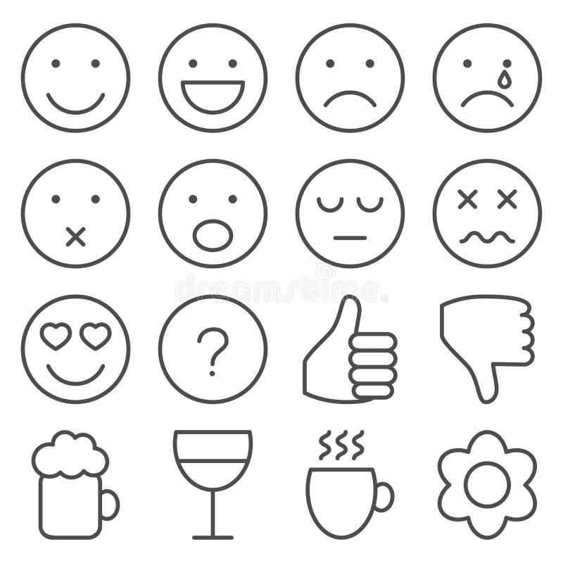 Uppsättning av linjen emoticons royaltyfri illustrationer