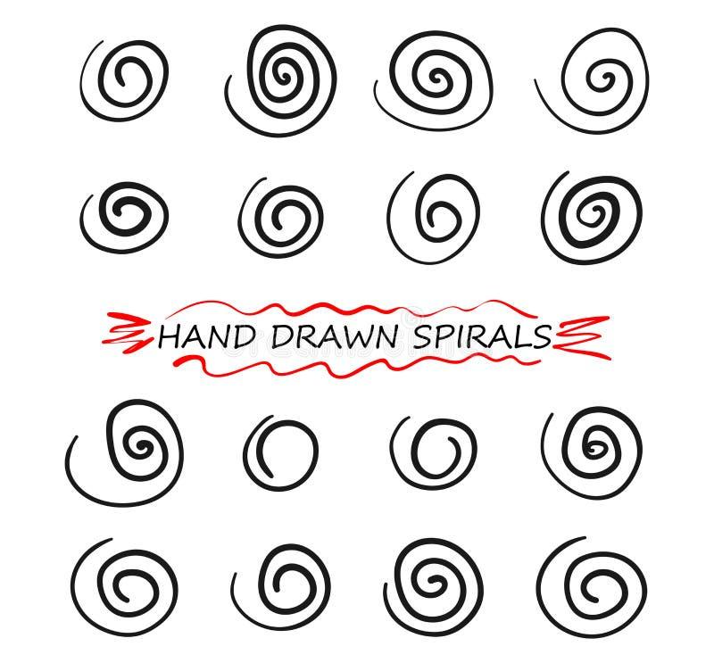 Uppsättning av linjen för utdraget klotter för hand den spiral Beståndsdelar för virvelvektordesign illustration på vit isolerad  vektor illustrationer