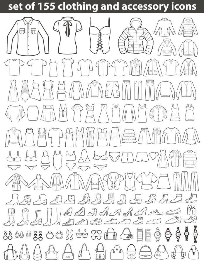 Uppsättning av linjen klädsymboler stock illustrationer