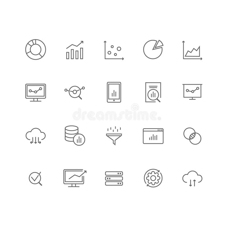 Uppsättning av linjen symboler för analys för 20 data den tunna royaltyfri illustrationer