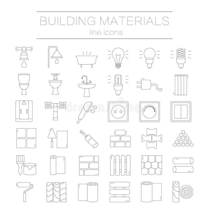 Uppsättning av linjen symboler för DIY, konstruktion, byggnadsmaterial stock illustrationer