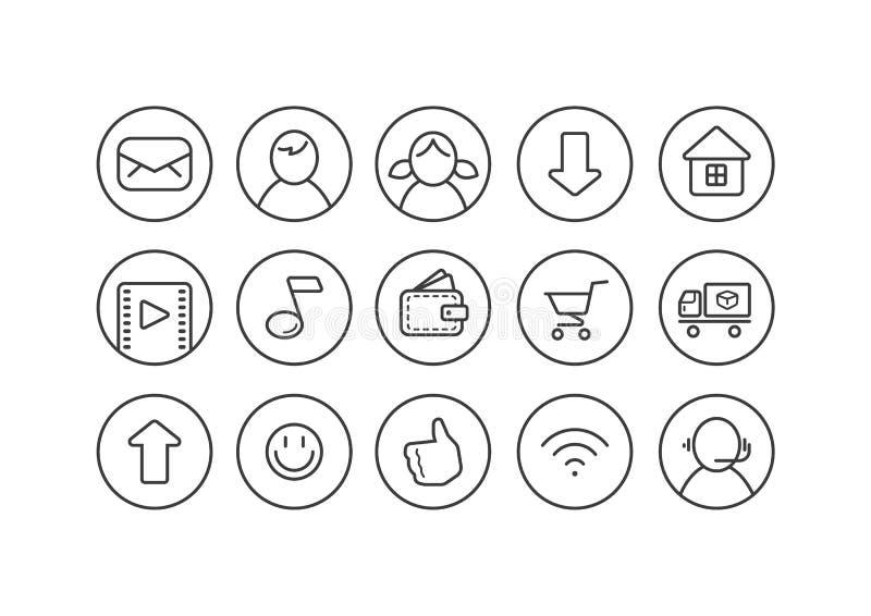 Uppsättning av linjen symboler för konstinternettema för en webbsida i en rund ram royaltyfri illustrationer