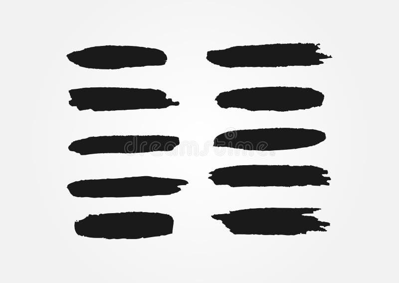 Uppsättning av linjer som dras av borsteslaglängder Tio isolerade svartsudd royaltyfri illustrationer