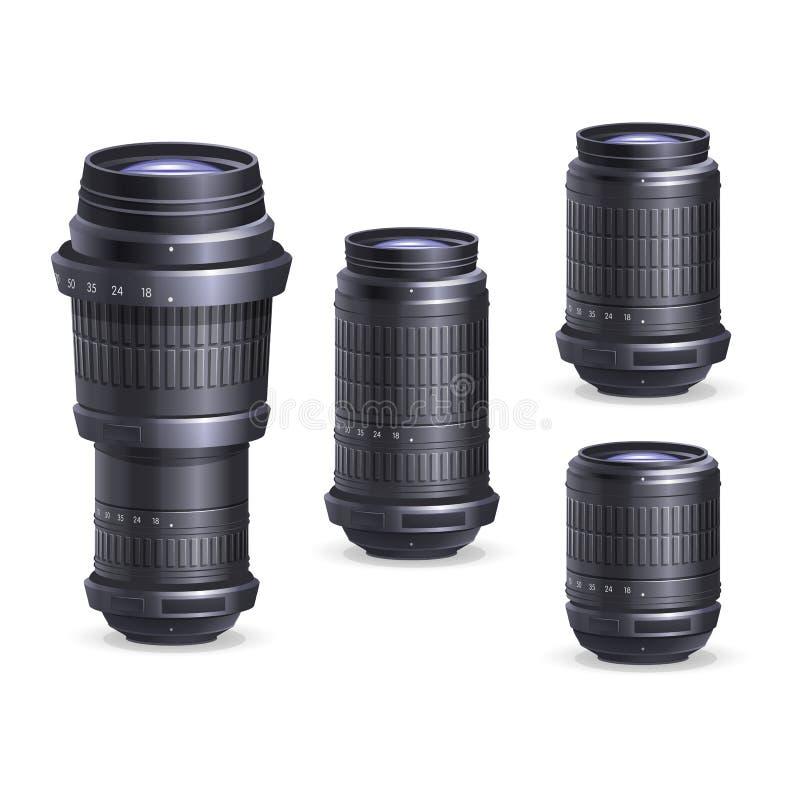 Uppsättning av linser för digital kamera royaltyfri illustrationer