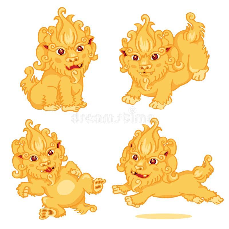 Uppsättning av Lion Chinese Style fotografering för bildbyråer