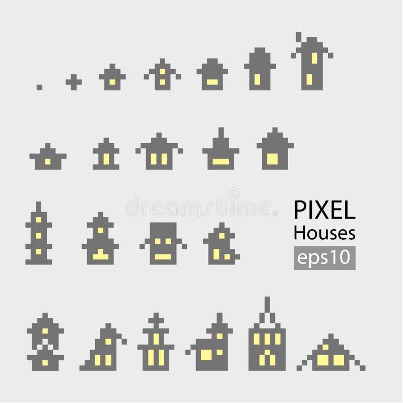 Uppsättning av liten byggnad för PIXEL royaltyfri illustrationer