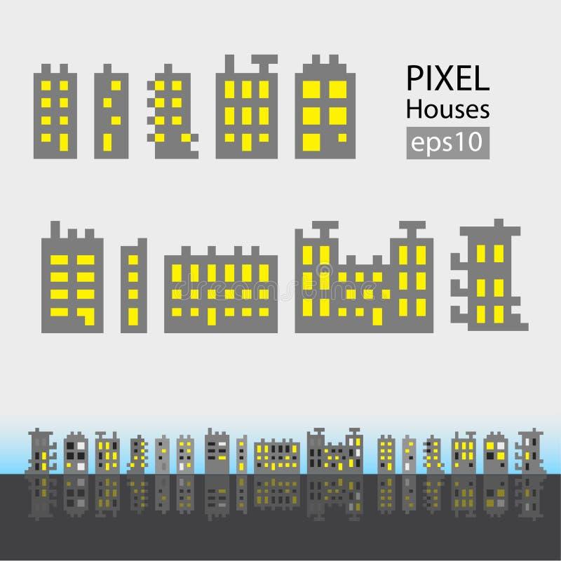 Uppsättning av liten byggnad för PIXEL stock illustrationer