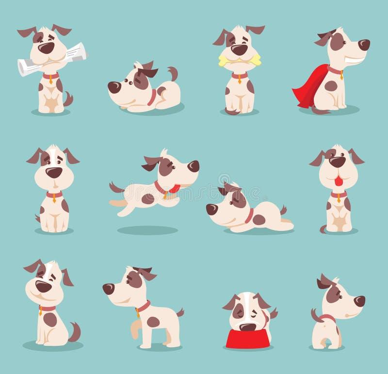 Uppsättning av liten hundkapplöpning-pupies för gullig och rolig tecknad film stock illustrationer