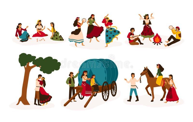 Uppsättning av livsstilplatser med zigenare eller Romani folk som utför olika aktiviteter - ridninghäst som spelar gitarren och royaltyfri illustrationer