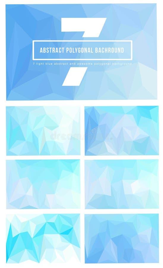 uppsättning 7 av ljus - blå polygonal bakgrund arkivbilder