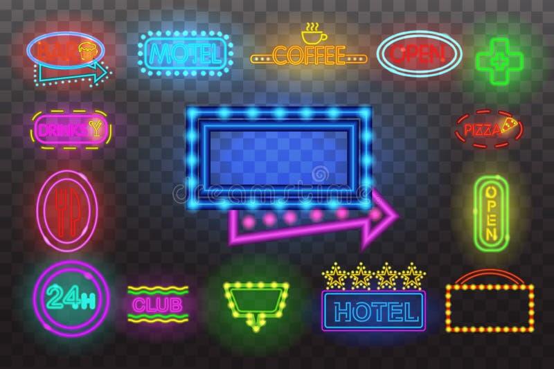 Uppsättning av ljus för neontecken på för bakgrundsvektor för natt den genomskinliga illustrationen, ljusa glödande elektriska ad stock illustrationer