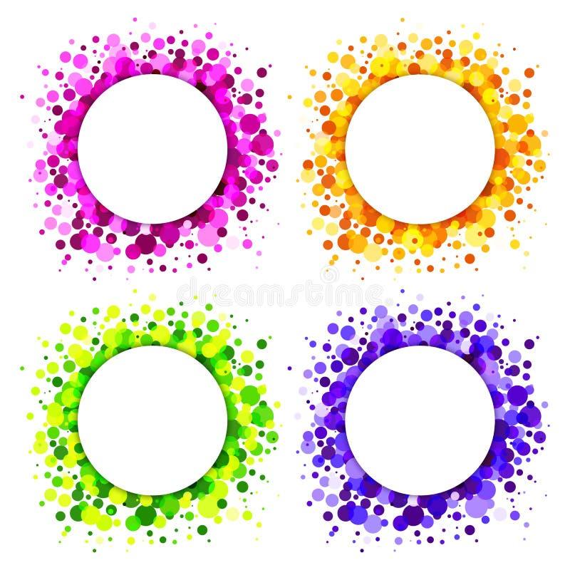 Uppsättning av ljusa abstrakt begreppcirkelramar stock illustrationer
