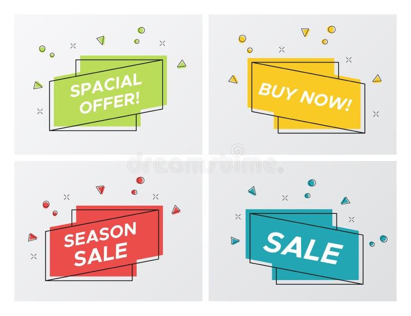 Uppsättning av ljusa försäljningsband med partikeltryckvåg stock illustrationer