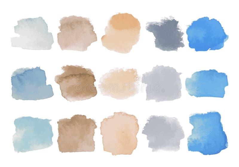 Uppsättning av ljusa mångfärgade vattenfärgfläckar royaltyfri illustrationer