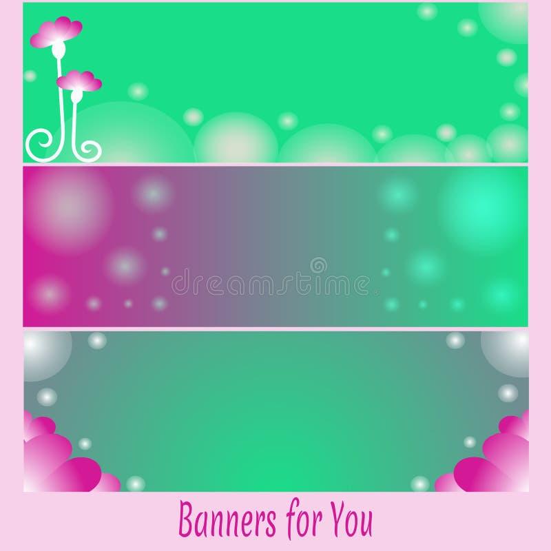 Uppsättning av ljusa rosa och gröna baner med blom- beståndsdelar royaltyfri illustrationer