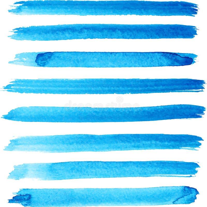 Uppsättning av ljusa slaglängder för blåttfärgborste stock illustrationer