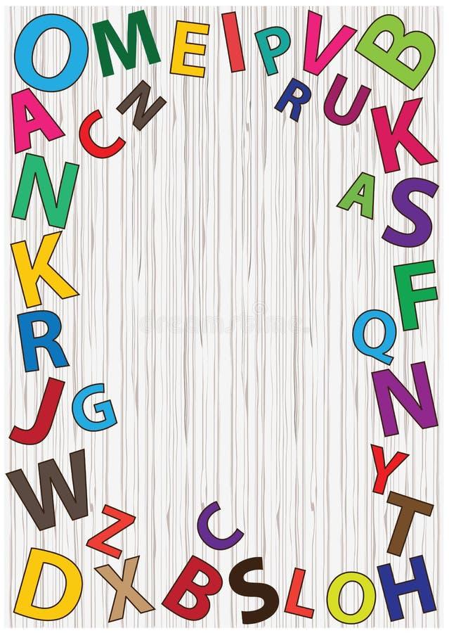 Uppsättning av ljusa vektoralfabetbokstäver på trätexturbakgrund Alfabetet för regnbågelägenhetdesignen märker samlingen Alfabetf royaltyfri illustrationer
