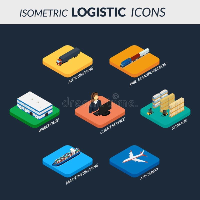 Uppsättning av logistiksymboler Infographics av kedjan av leveransen vektor illustrationer