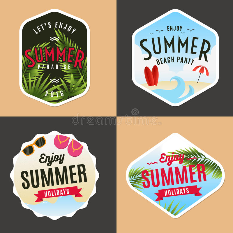 Uppsättning av logo, emblem, baner, emblem och beståndsdelar för sommarferier strandparti stock illustrationer