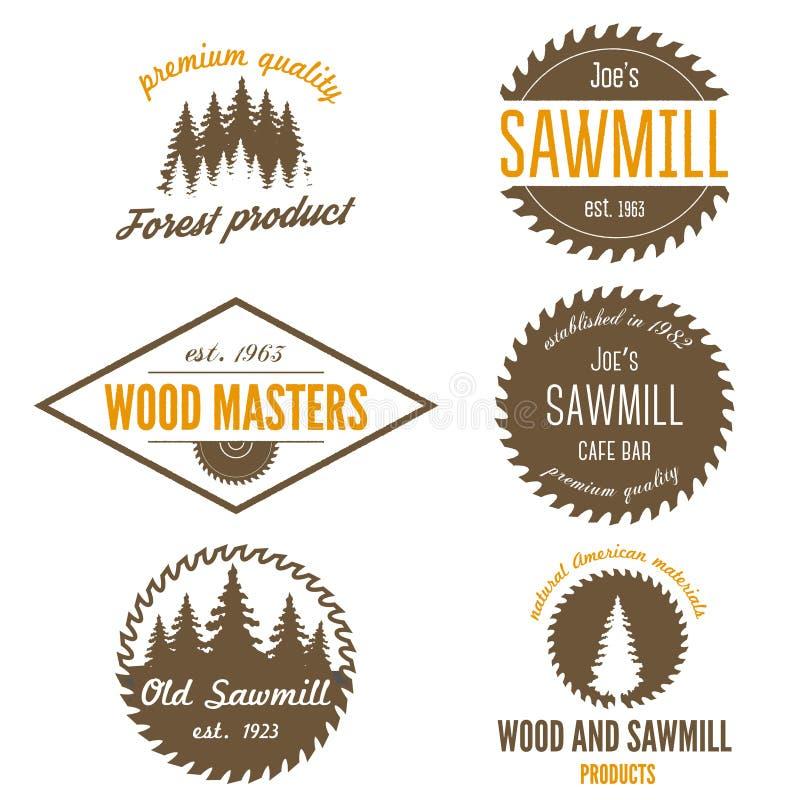 Uppsättning av logo, etiketter, emblem och logotypbeståndsdelar stock illustrationer