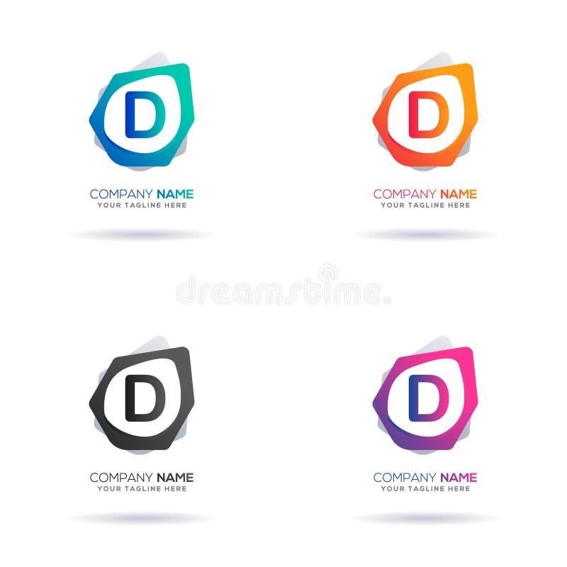 Uppsättning av logodesignen för initial bokstav D Abstrakta Shape för idérikt bruk royaltyfria foton
