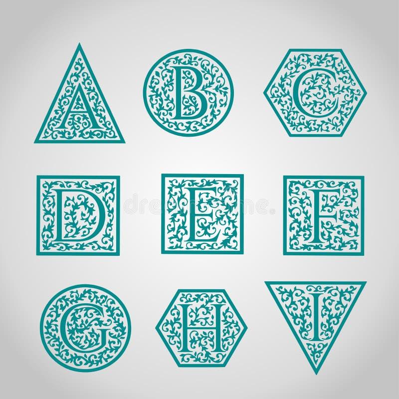 Uppsättning av logodesigner Artistically dragit, stiliserat royaltyfri illustrationer