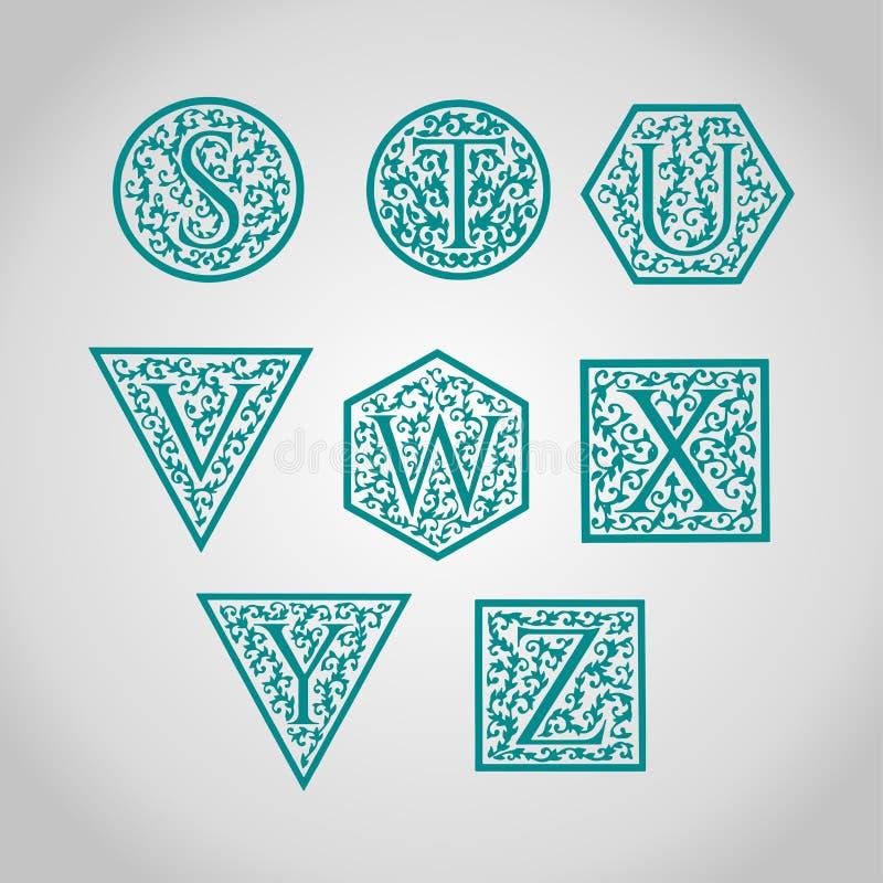 Uppsättning av logodesigner Artistically dragit, stiliserat vektor illustrationer