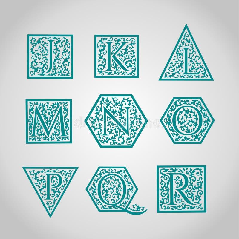 Uppsättning av logodesigner Artistically dragit, stiliserat stock illustrationer