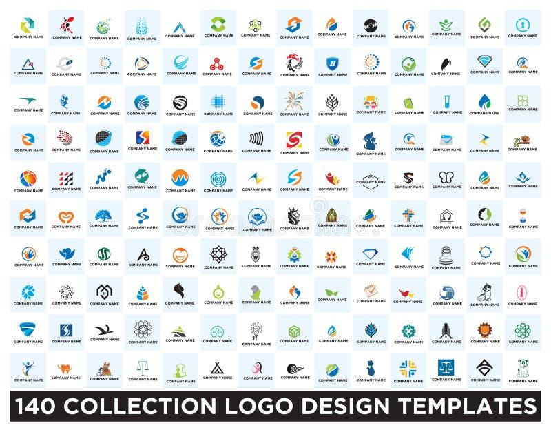 Uppsättning av logodesignmallar royaltyfri illustrationer