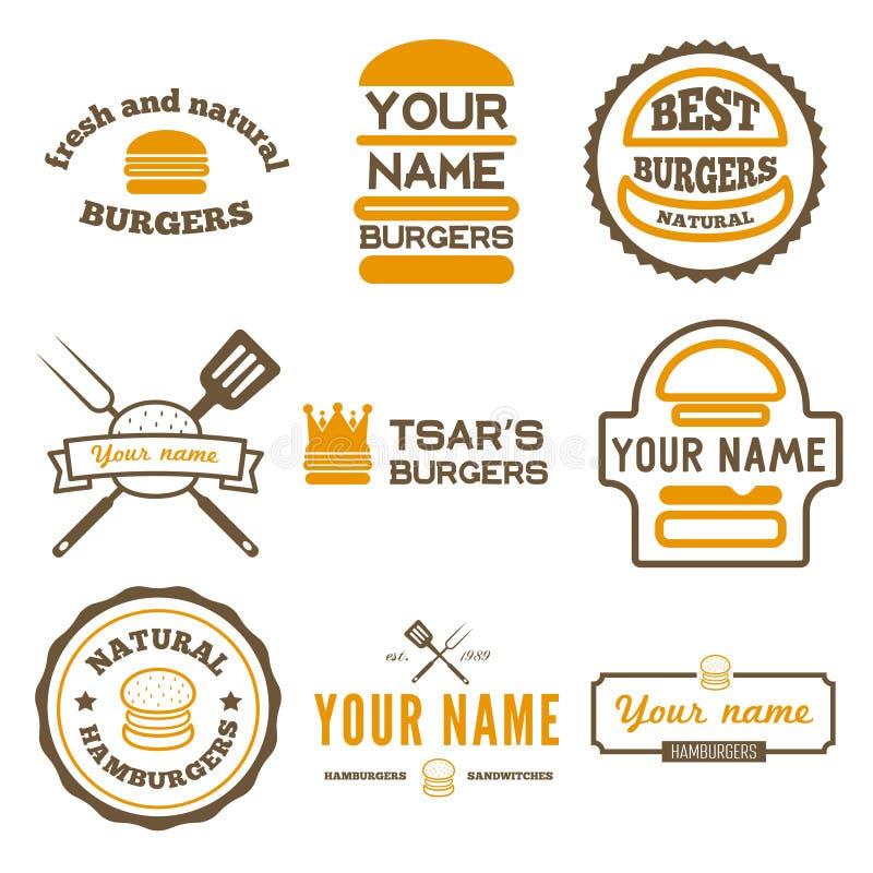 Uppsättning av logoen, etiketter, klistermärkear och logotypen stock illustrationer