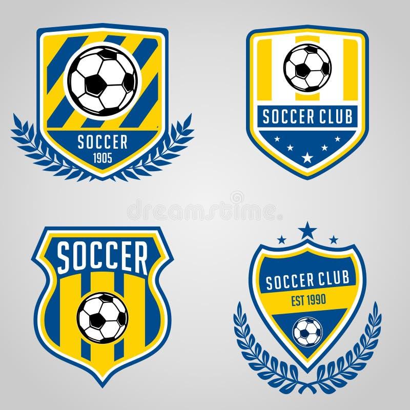 Uppsättning av logoen för fotbollfotbollklubba vektor illustrationer
