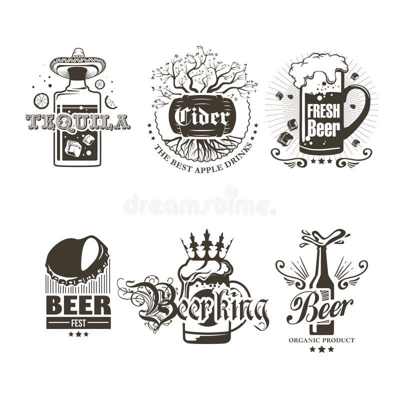 Uppsättning av logoer av alkoholdrycker stock illustrationer