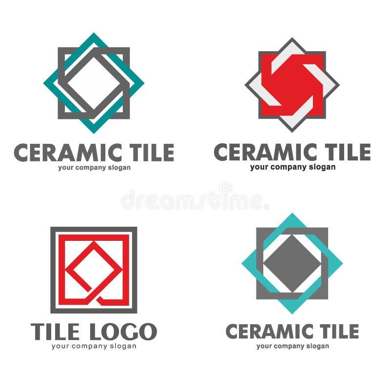 Uppsättning av logoer av keramiska tegelplattor också vektor för coreldrawillustration stock illustrationer