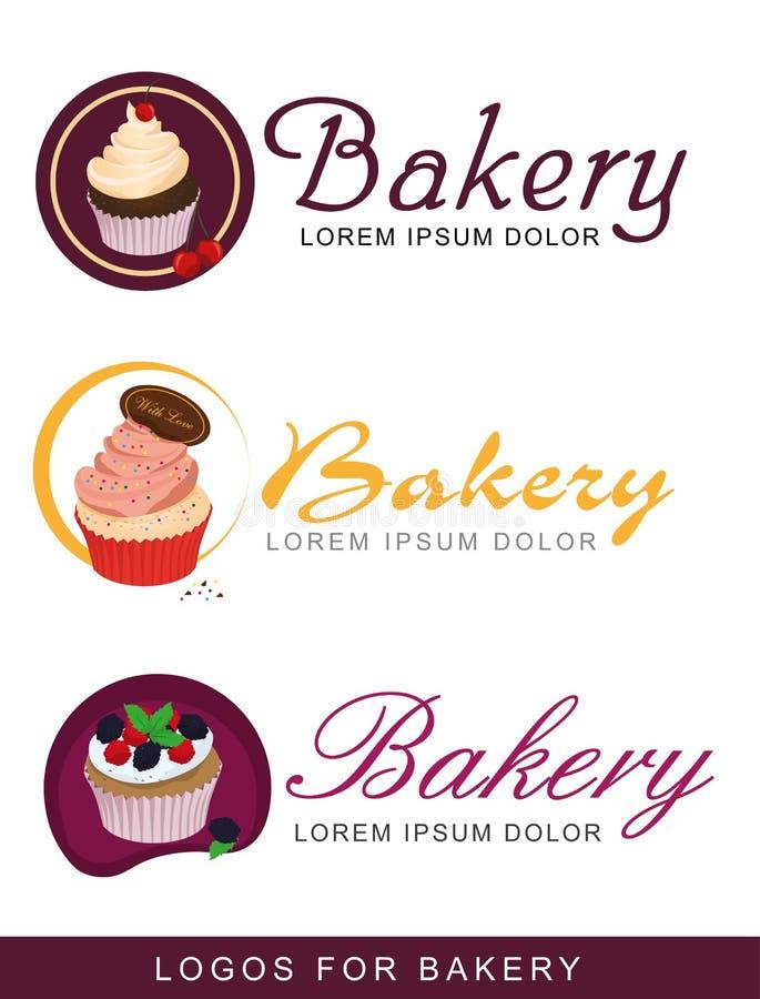 Uppsättning av logoer för bagerit royaltyfri illustrationer