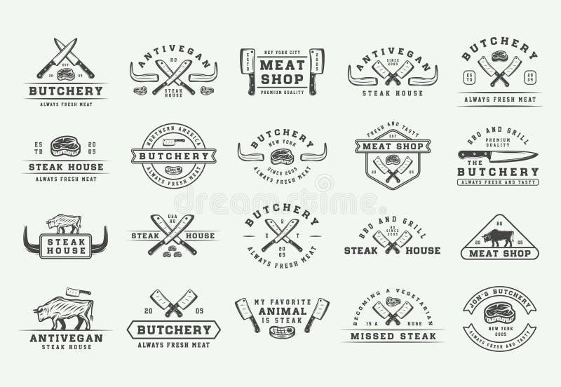 Uppsättning av logoer för för för tappningslaktkött, biff eller bbq, emblem, emblem, etiketter Grafik royaltyfri illustrationer