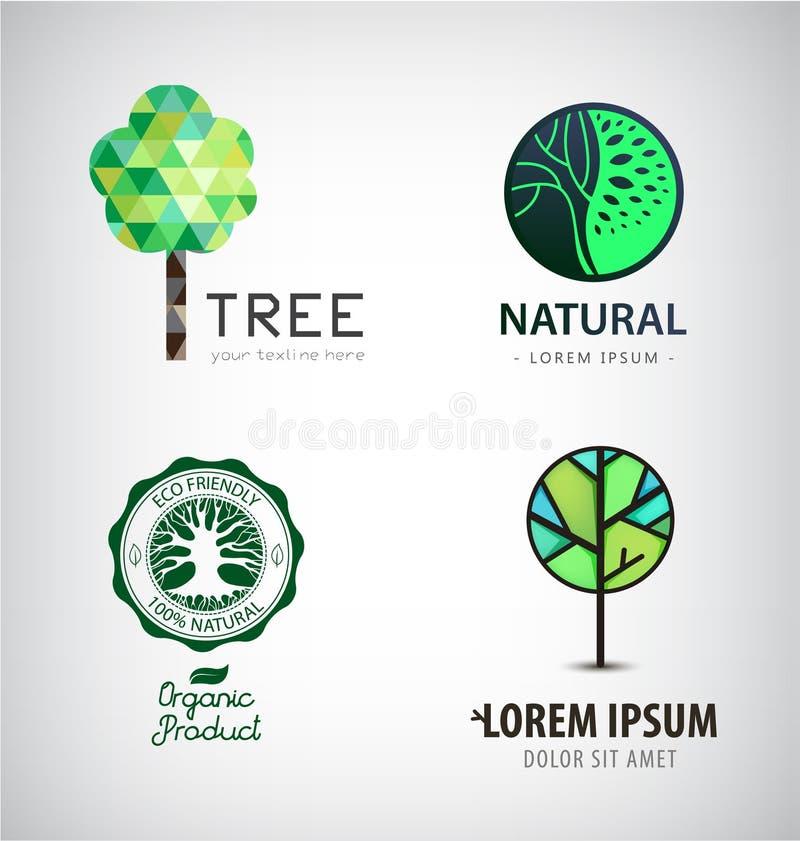 Uppsättning av logoer för vektorgräsplanträd Eco som är organisk, växtlogotyper royaltyfri illustrationer