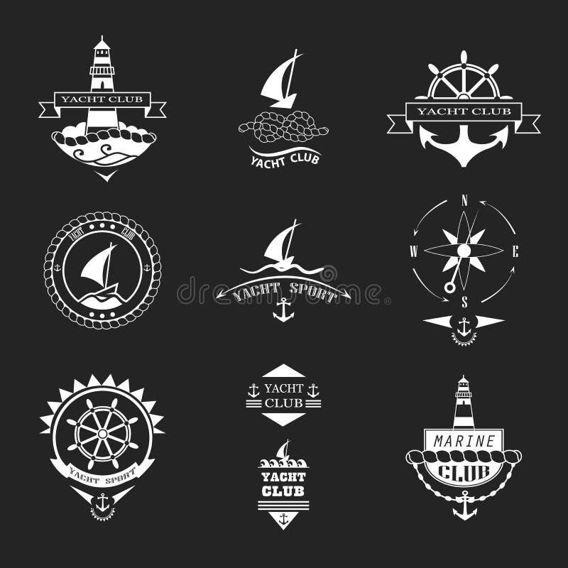 Uppsättning av logoer för yachtklubba royaltyfri illustrationer