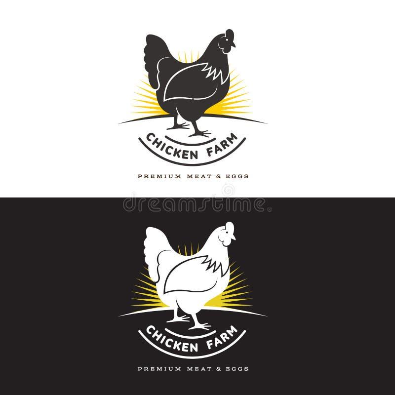 Uppsättning av logoer med höna royaltyfri illustrationer