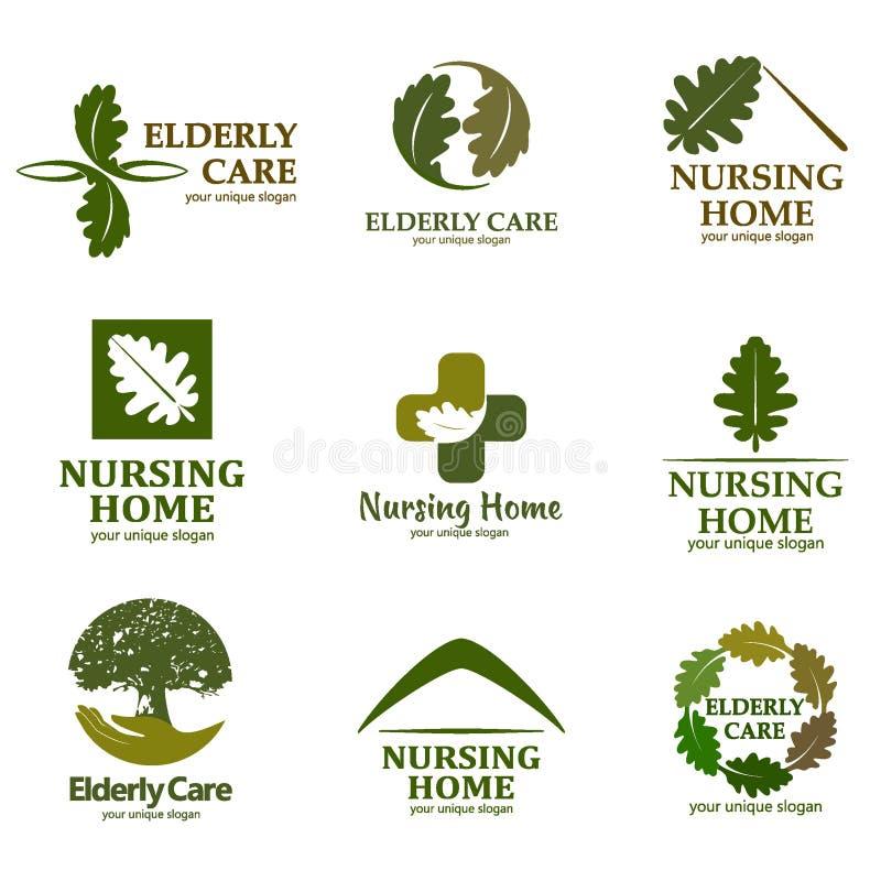 Uppsättning av logoer med text Åldringomsorg Logo för vårdhemmet stock illustrationer