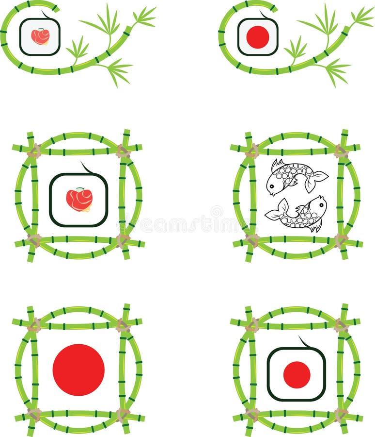 Uppsättning av logoer med två fiskar, bambu och sushi stock illustrationer