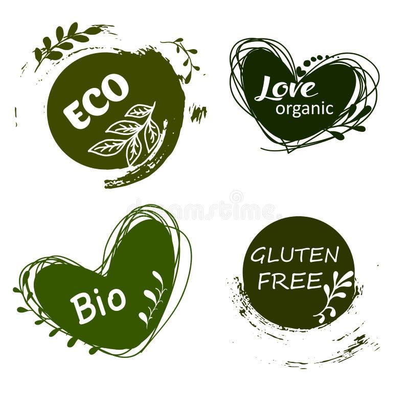 Uppsättning av logoer, symboler, designbeståndsdelar Naturlig mat, organisk mat, veggiemat royaltyfri illustrationer