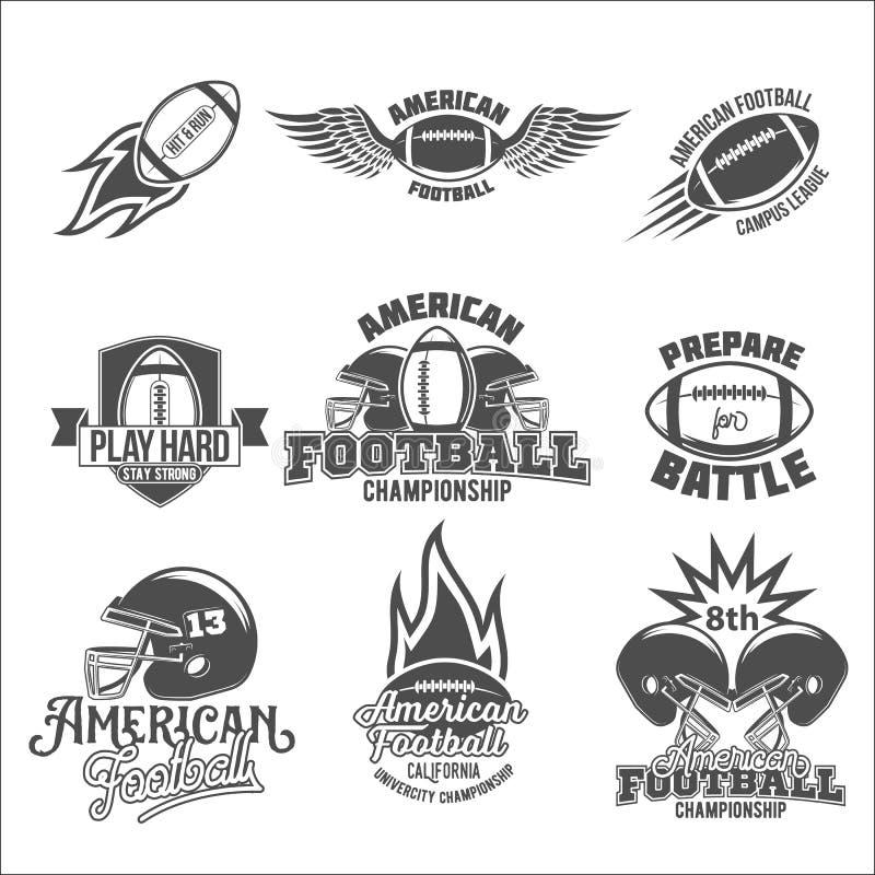 Uppsättning av logoetiketter för amerikansk fotboll stock illustrationer