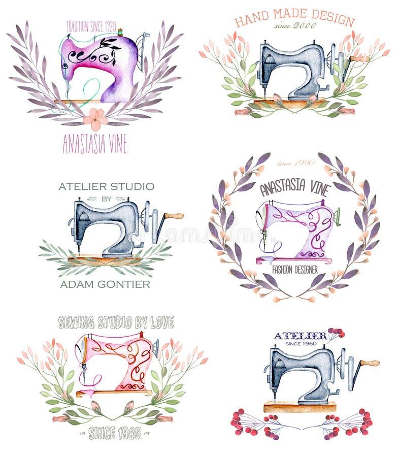Uppsättning av logomodeller med retro symaskiner för vattenfärg och blom- beståndsdelar vektor illustrationer