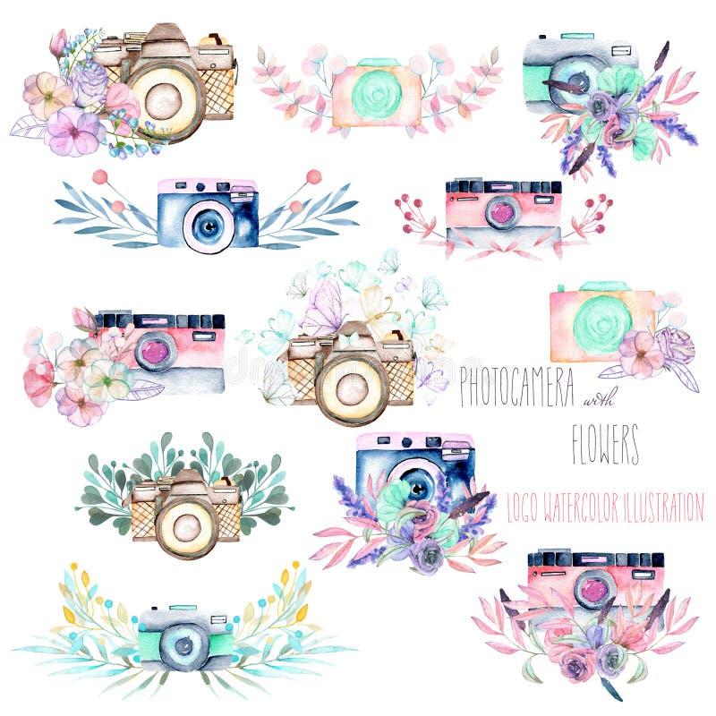Uppsättning av logomodeller med vattenfärgkameror och blom- beståndsdelar royaltyfri illustrationer