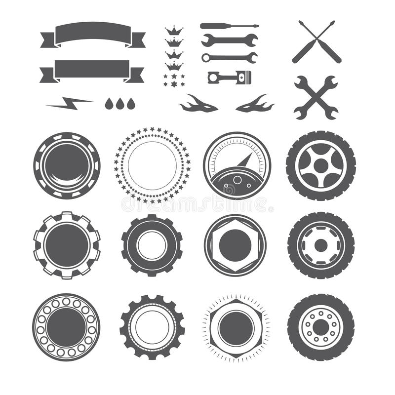 Uppsättning av logotypbeståndsdelen för mekanikern, garage, bilreparation, service royaltyfri bild