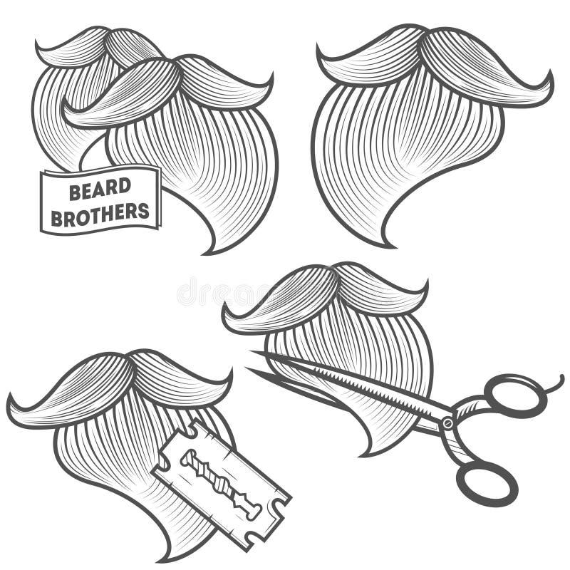 Uppsättning av logotyper för frisersalong stock illustrationer