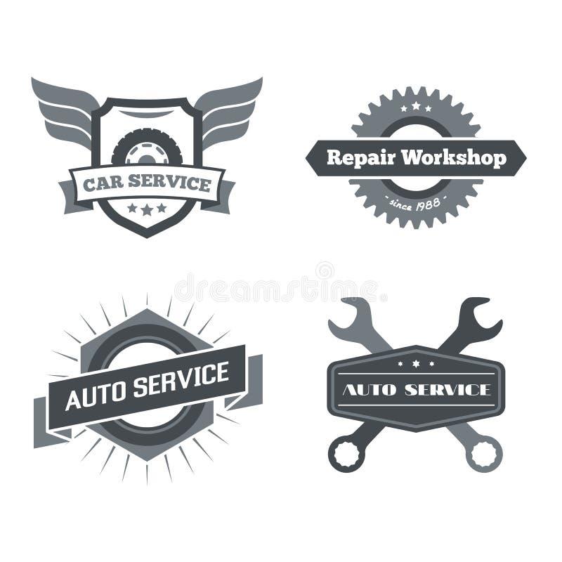 Uppsättning av logotyper för mekanikern, garage, bilreparation, service royaltyfri foto