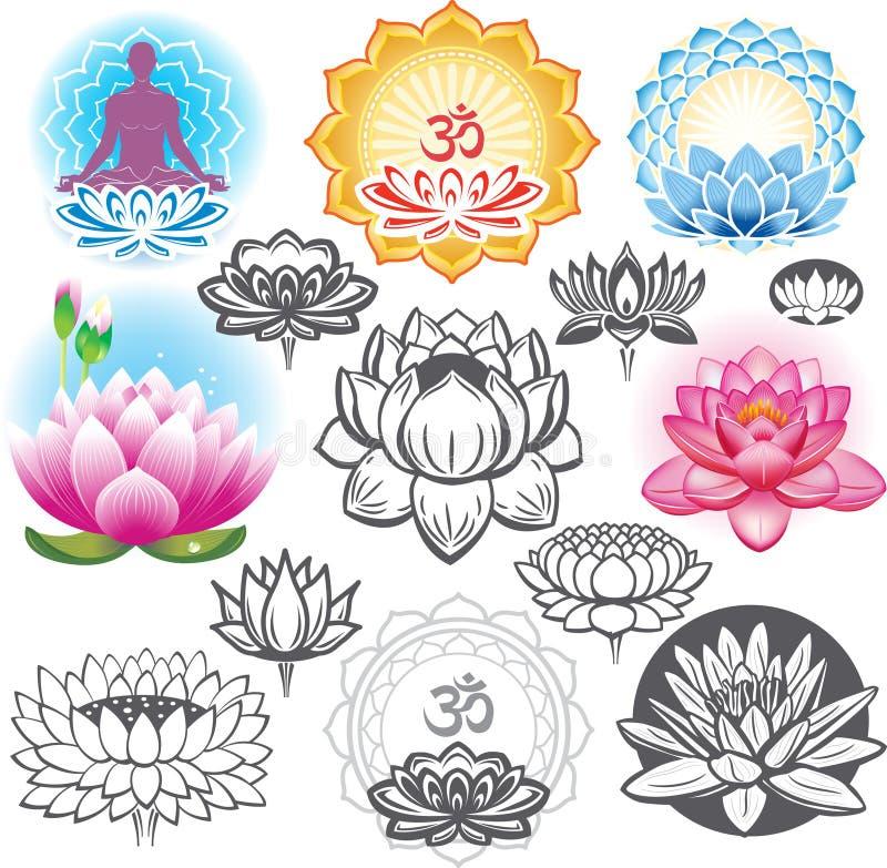 Uppsättning av lotusblommor vektor illustrationer