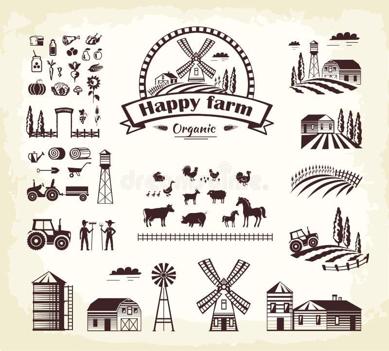 Uppsättning av lycklig stil för tecknad film för organisk produktion för lantgård stock illustrationer