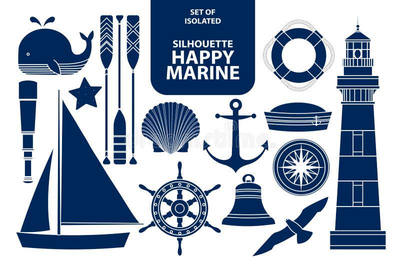 Uppsättning av lyckliga flottor för kontur i mörker - blå översikt stock illustrationer